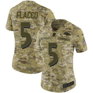cheap nfl jerseys dhgate Women\'s Baltimore Ravens #5 Joe Flacco Camo Stitched Limited 2018 Salute to Service Jersey chinese website for jerseys