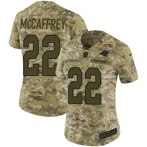 cheap nfl jerseys pay with paypal Women\'s Carolina Panthers #22 Christian McCaffrey Camo Stitched Limited 2018 Salute to Service Jersey best site to ...