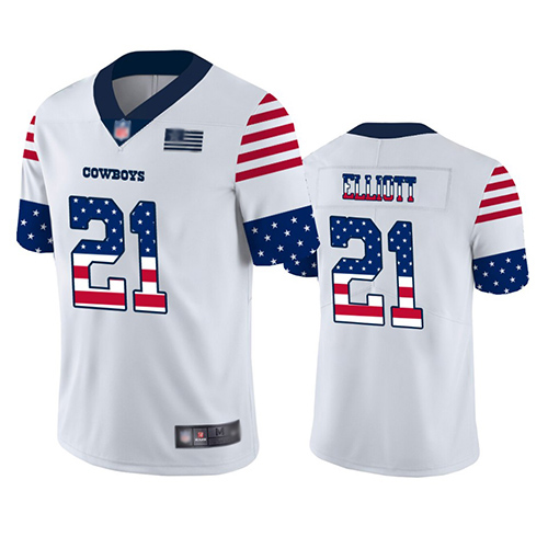 cheap nfl jerseys salute to service Men\'s Dallas Cowboys #21 Ezekiel Elliott White Stitched Limited Independence Day Jersey best site for cheap ...